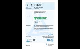 Certifikát ČSN EN ISO 14001:2016 - Vývoj, výroba a prodej doplňkových krmiv doplňkových minerálních krmiv a premixů pro zvířata a jejich poradenský servis