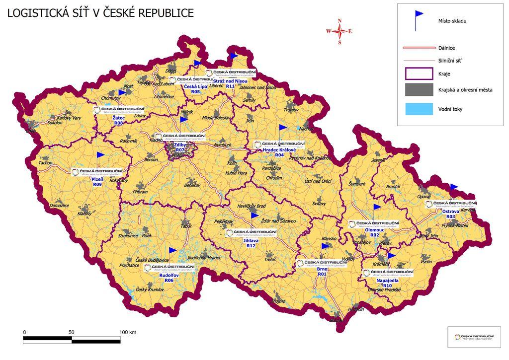 Logistická síť v ČR - mapa lokálních skladů