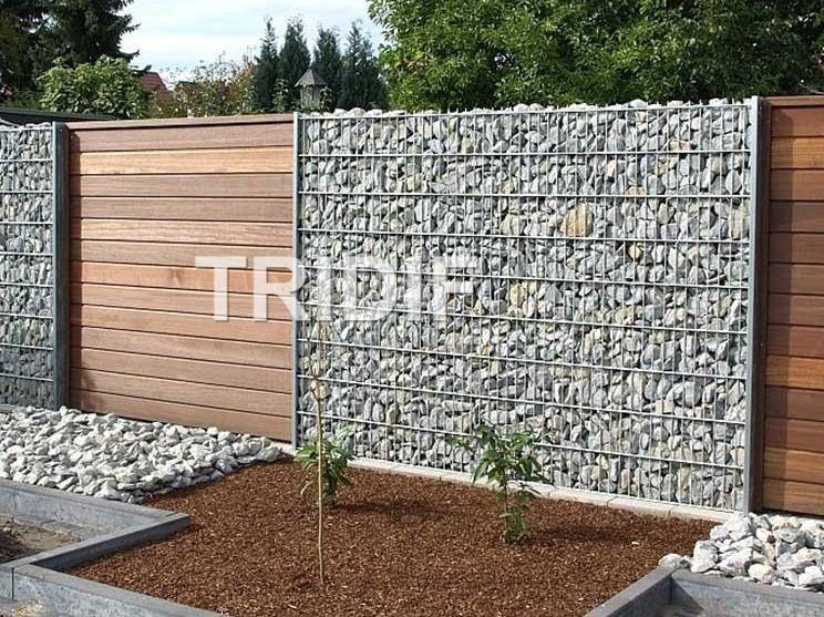 Sypaný gabionový plot - výrobce Tridif s.r.o. Uherské Hradiště