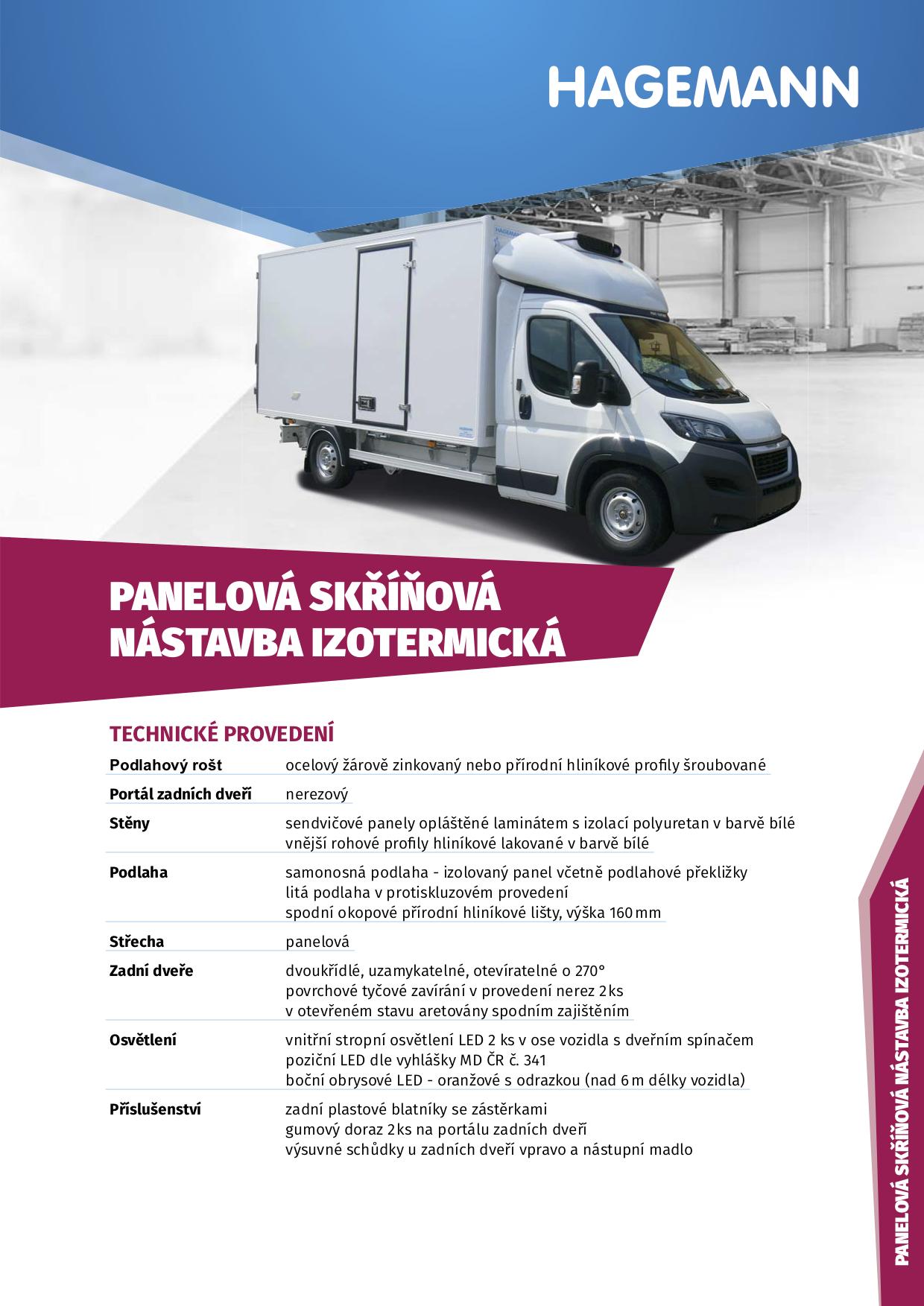 Chladírenské nástavby užitkových vozidel - Hagemann a.s. Opava