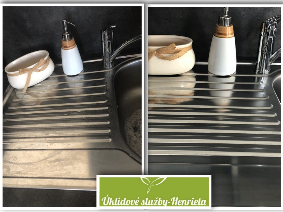 Pečlivé umytí dřezu v kuchyňce