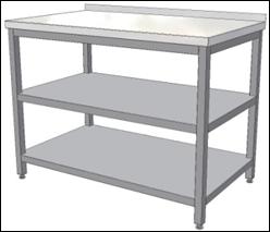 Pevné nerezové stoly s policemi, dvířky pro gastroprovozy