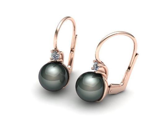 Zlaté náušnice s černou perlou
