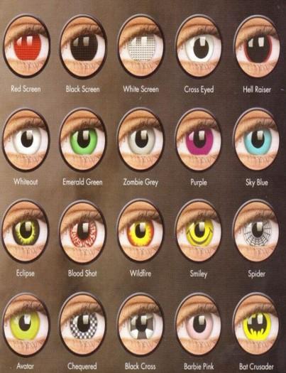 Výběr z mnoha druhů očních čoček
