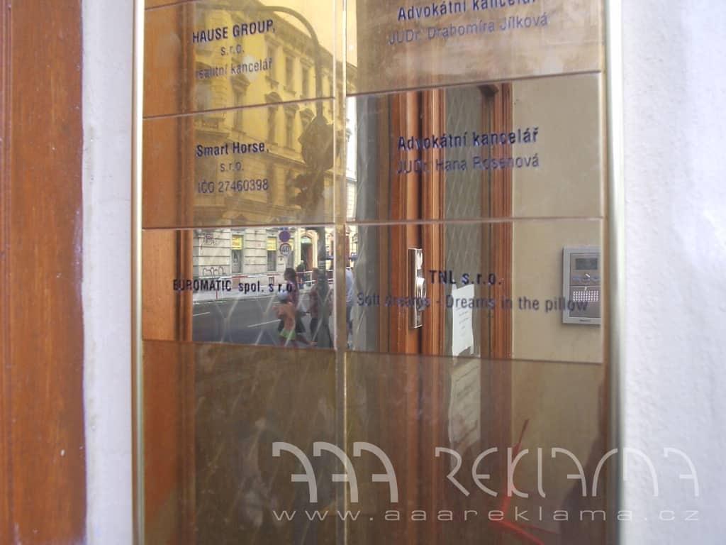 Označení bytů a kanceláří - AAA reklama Praha