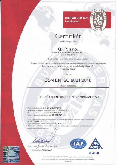 Certifikace ČSN EN ISO 9001:2016 - zakázková kalírna Q.I.P. s.r.o., Brno