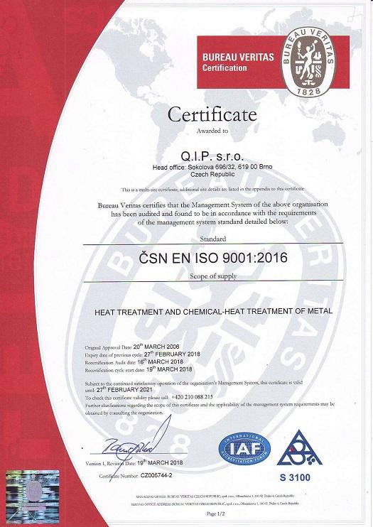 Q.I.P. s.r.o. Brno je držitelem certifikace ČSN EN ISO 9001:2016