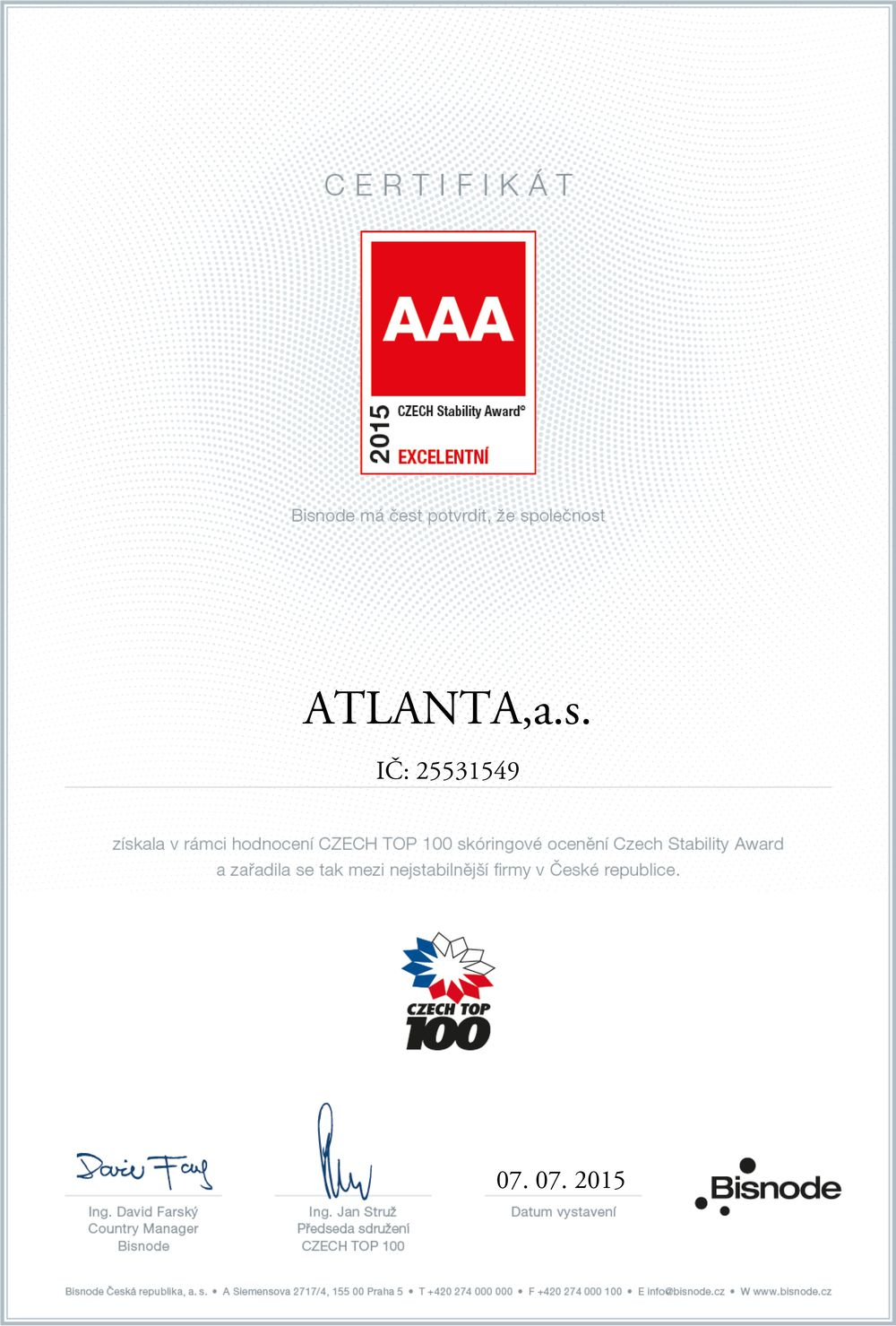 Certifikát CZECH TOP 100 ratingové ocenění CZECH STABLITY AWARDS