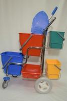 Úklidový vozík Kaskáda s kbelíky, košíky, ždímačem - Mopservis s.r.o.