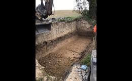 Budování gabionů, výkopové práce, odvoz zeminy