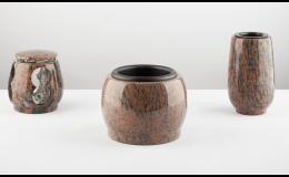 Hřbitovní kamenný komplet - váza, lucerna mísa