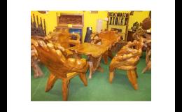 Královský teakový set - masivní stůl a křesla