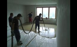 Pokládka samonivelační anhydritové podlahy
