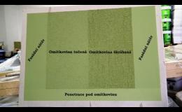 Výsledný odstín fasády na různých materiálech