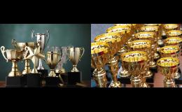 Sportovní poháry, laminované vlaječky a medaile