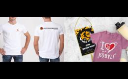 Potisk reklamního textilu, výšivky - reklamní trička, čepice, tašky