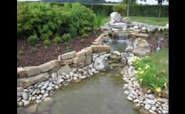 Vybudování jezírek, potůčků na zahradách