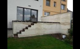 Venkovní obklady a dlažba, kamenné schody