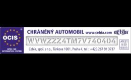 Ochranné značení autoskel osobních vozidel, Autoskla Vacek s.r.o., Brno