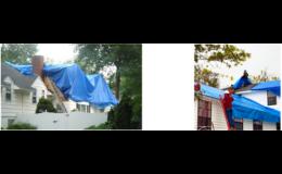 Krycí voděodolné plachty z PVC k přikrytí rekonstruovaných střech