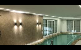 Bazénové osvětlení, moderní nástěnná a stropní svítidla