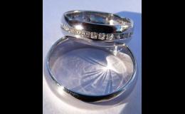 Snubní prsteny z bílého zlata osázené brilianty, Zlatnictví Radka Horníčková