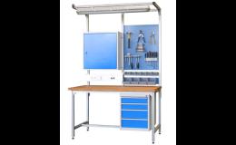 Montážní a pracovní stoly, kompletní pracoviště pro dílny a průmysl
