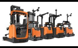 Automaticky naváděné skladové vozíky k zakládání či doplňování zásob