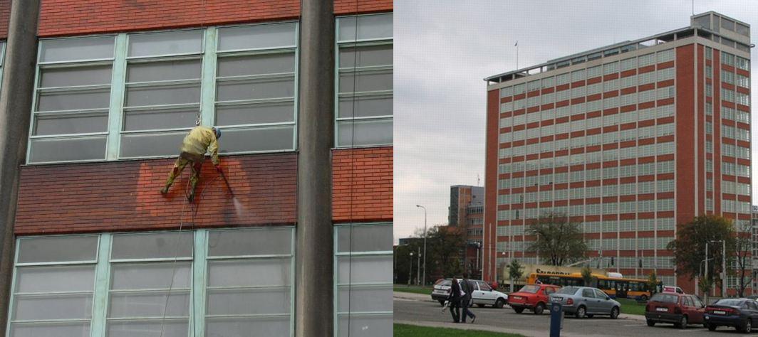 Baťův mrakodrap - čištění fasády budovy