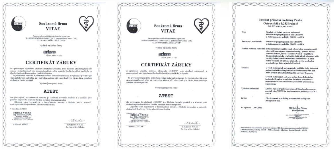 Relaxační centrum Adam má na odstranění geopategenní energie množství certifikátů záruky kvality
