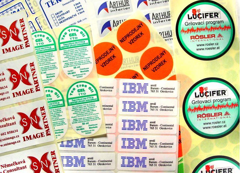 Samolepící etikety, logistické etikety, grafické etikety