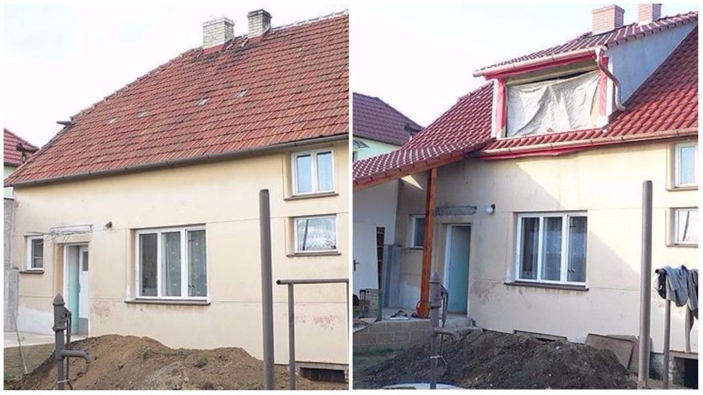 Realizace střechy - před a po, KD SLUŽBY Vladimír David
