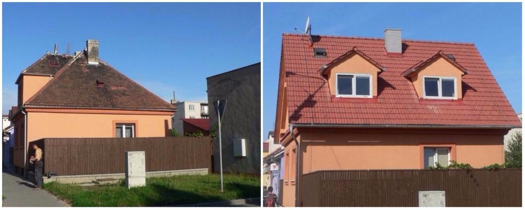 Rekonstrukce střech - před a po, KD SLUŽBY Vladimír David