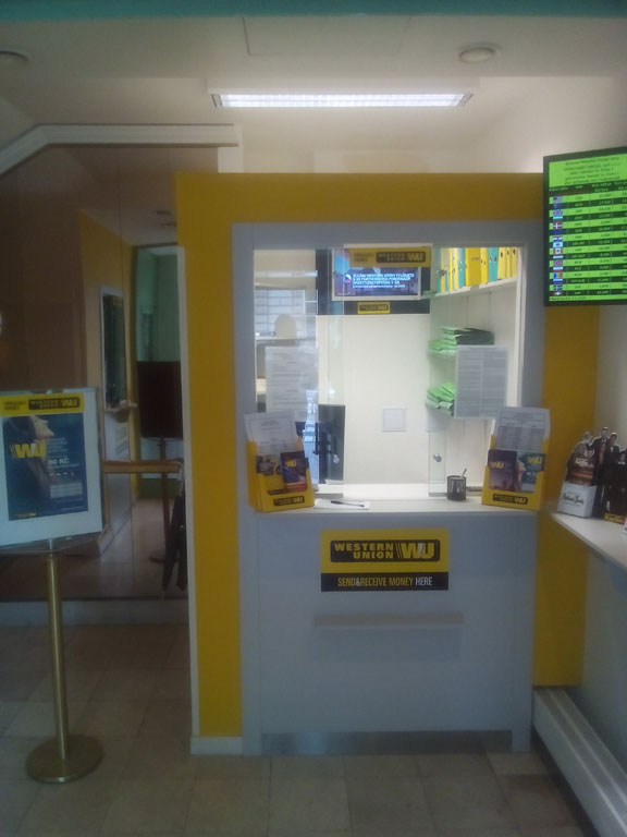 You can send or receive cash at any Western Union branch.