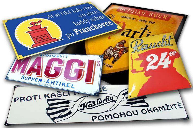 Originální smaltované tabule a štítky, označení budov, erby měst nebo státní znaky