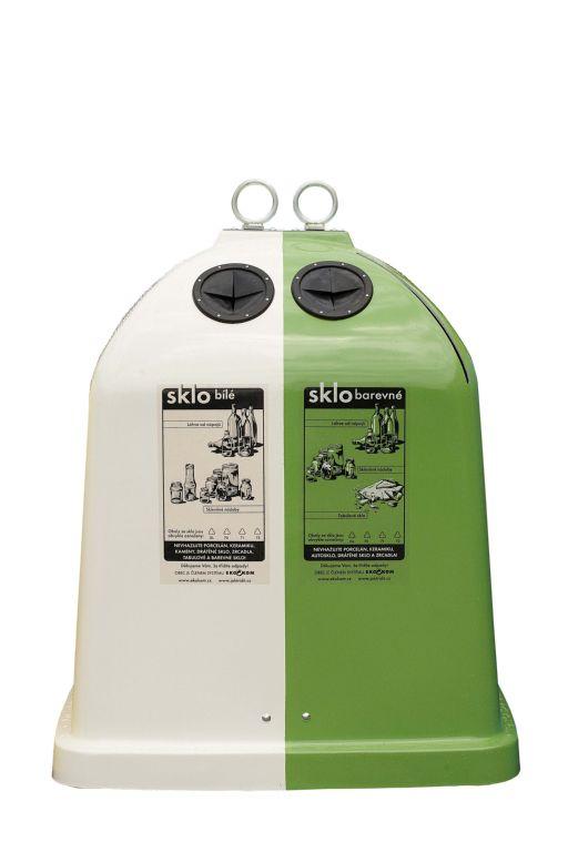 Zelený a bílý kontejrne na třídění skla, EKO-KOM, a.s.