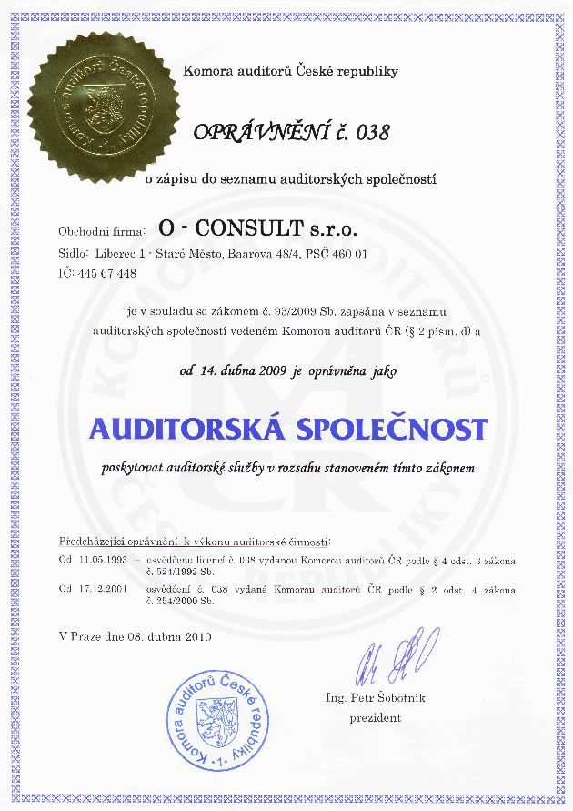 Audity, účetnictví, daně Liberec, O-CONSULT, s.r.o.