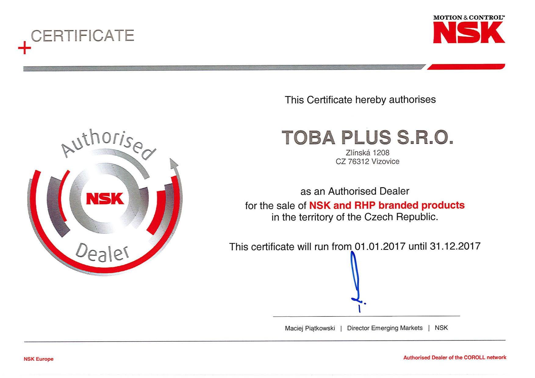 Certifikace NSK výroba ložisk, kuličkových šroubů