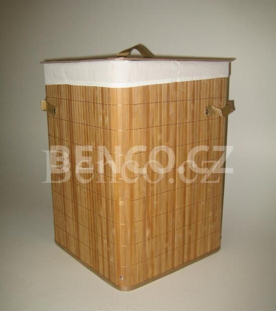 Bambusový koš prádelní čtvercový, koš na prádlo
