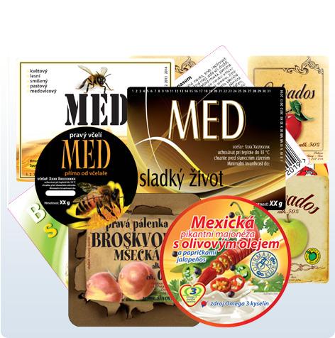 Samolepící etikety, obalové folie, potravinářská víčka