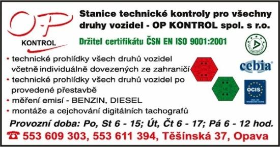 OP KONTROL spol. s r.o., Opava: emise, příprava na STK