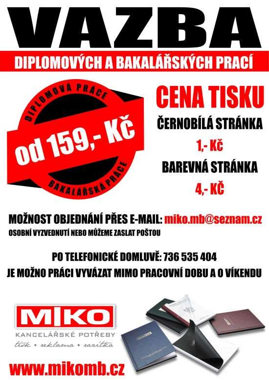 MIKO - Kancelářské potřeby, Moravské Budějovice: vazba závěrečných prací expresně, i o víkendu
