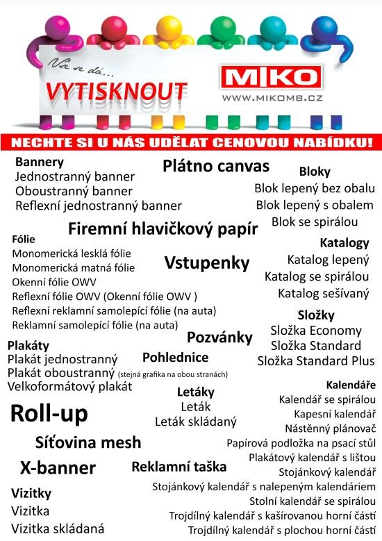MIKO - Kancelářské potřeby, Moravské Budějovice: reklamní potisk na materiály všeho druhu