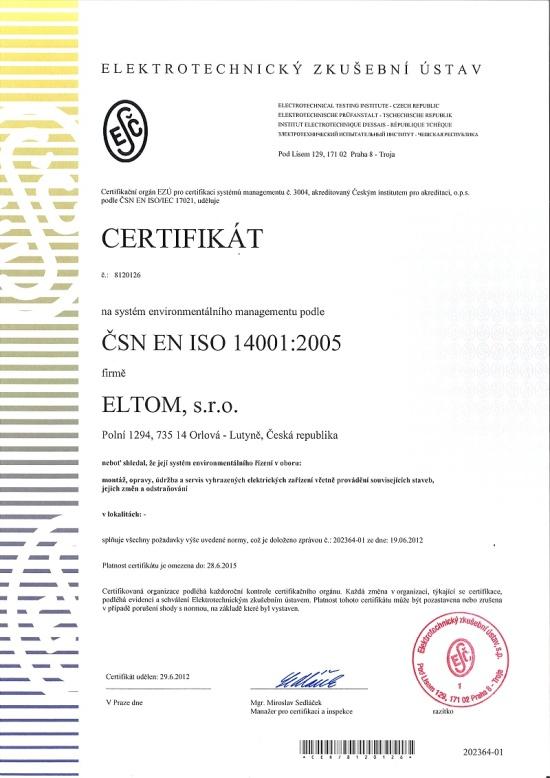 Certifikát, ELTOM, s.r.o., Ostrava: elektromontážní práce
