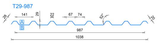 Profilovací linka, profil T29, výroba trapéz