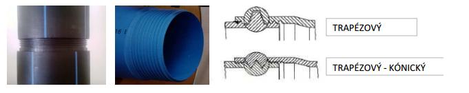 Plastové trubky s trapézovým nebo kónickým závitem