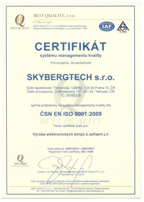 Certifikát SKYBERGTECH