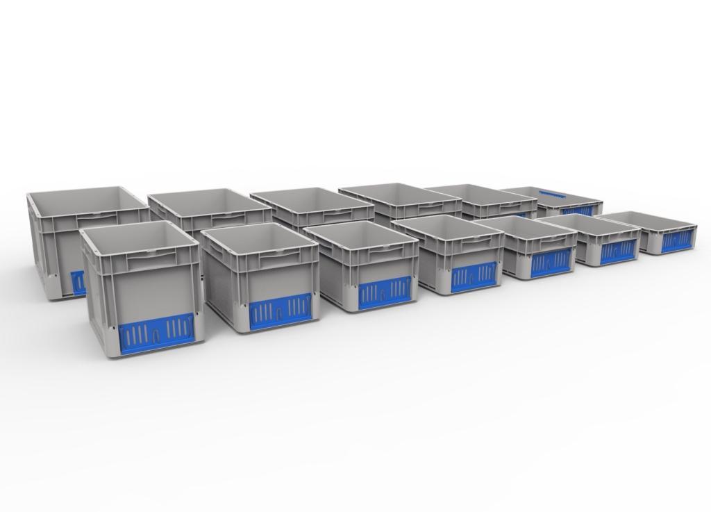 Stohovací a skladovací přepravky EuroClick různých velikostí překvapí velkou nosností při své nízké hmotnosti.