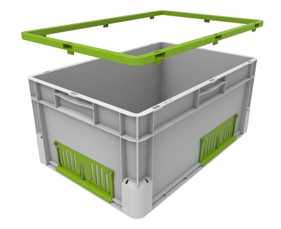 Nasazovací rám ClickBooster umožňuje změnu výšky boxu a dodává tak přepravkám obrovskou flexibilitu.