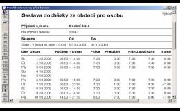Evidence docházky, DUHA system, spol. s r.o